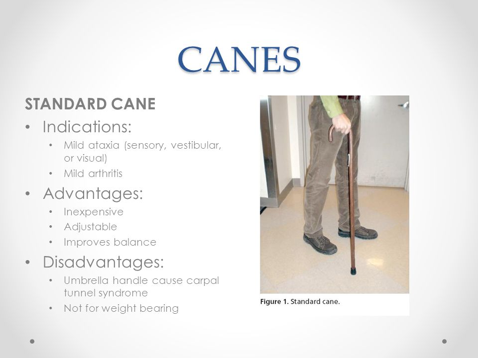 CANES STANDARD CANE Indications: Advantages: Disadvantages: