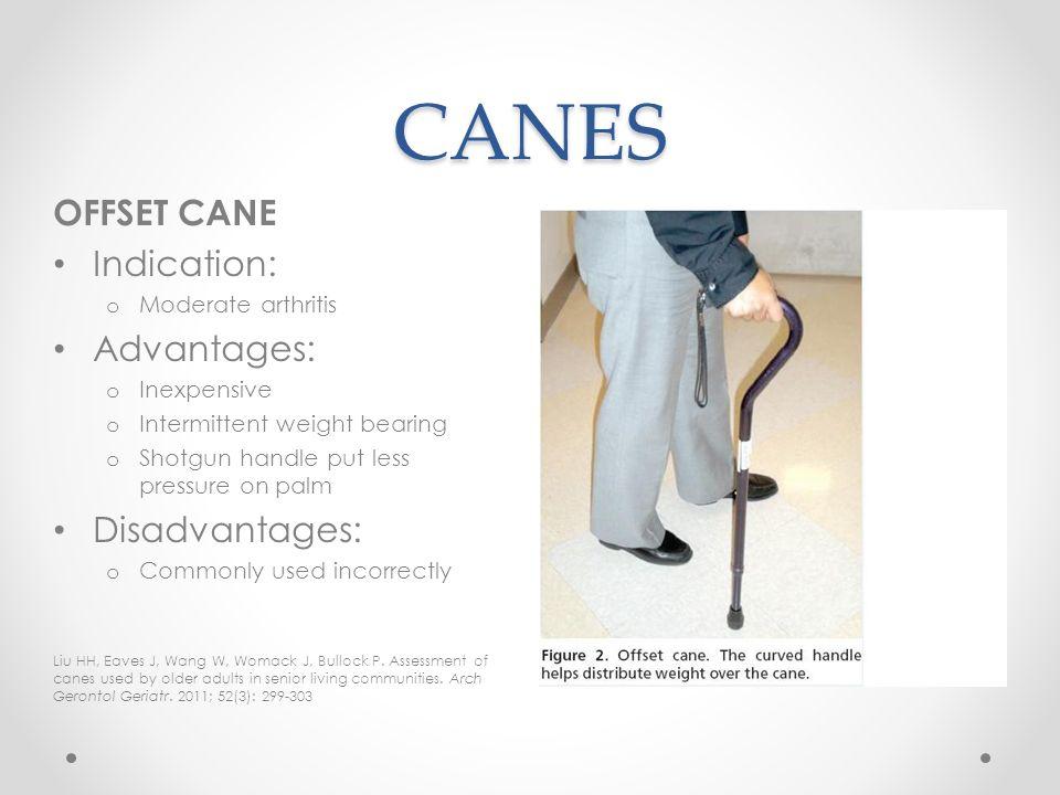 CANES OFFSET CANE Indication: Advantages: Disadvantages: