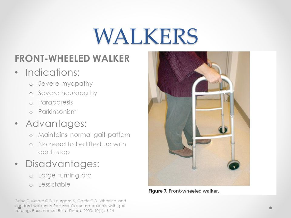 WALKERS FRONT-WHEELED WALKER Indications: Advantages: Disadvantages: