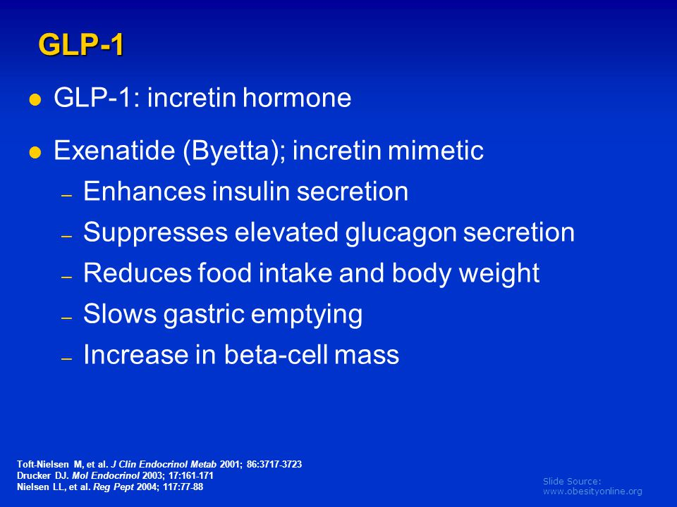 GLP-1 GLP-1: incretin hormone Exenatide (Byetta); incretin mimetic