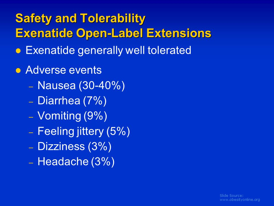 Safety and Tolerability Exenatide Open-Label Extensions