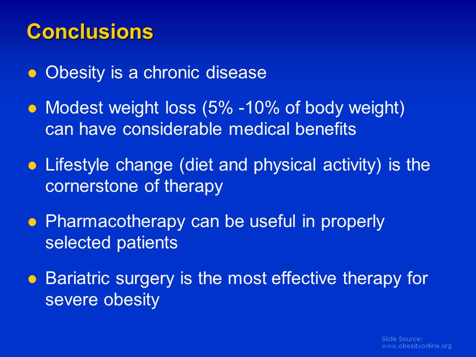 Conclusions Obesity is a chronic disease