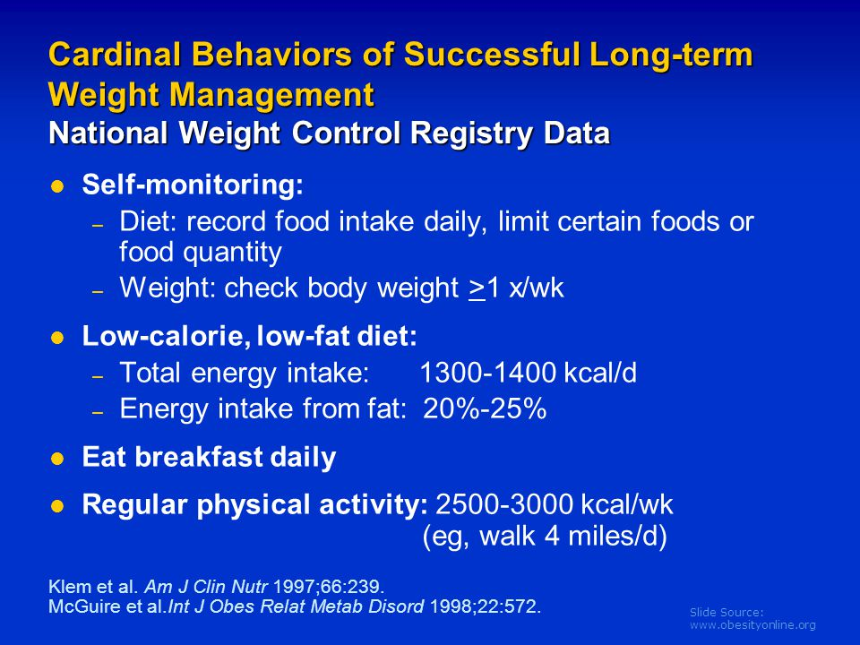Cardinal Behaviors of Successful Long-term Weight Management National Weight Control Registry Data