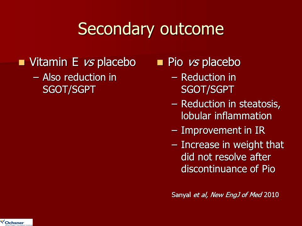 Secondary outcome Vitamin E vs placebo Pio vs placebo