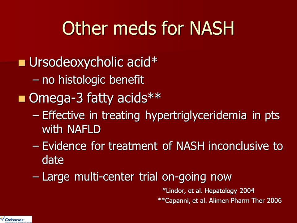Other meds for NASH Ursodeoxycholic acid* Omega-3 fatty acids**