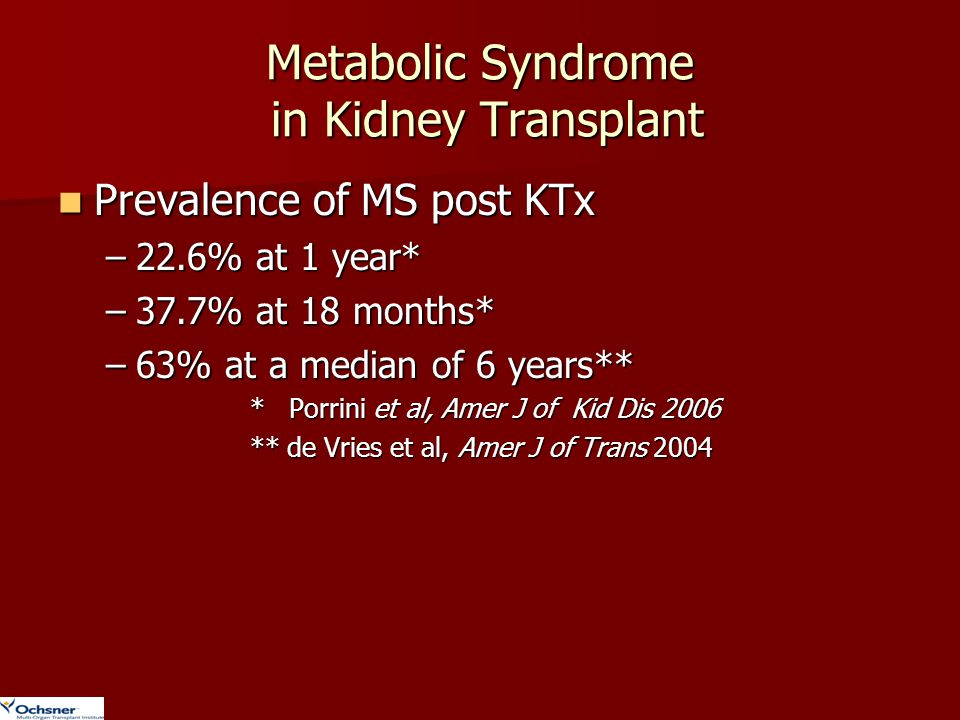 Metabolic Syndrome in Kidney Transplant