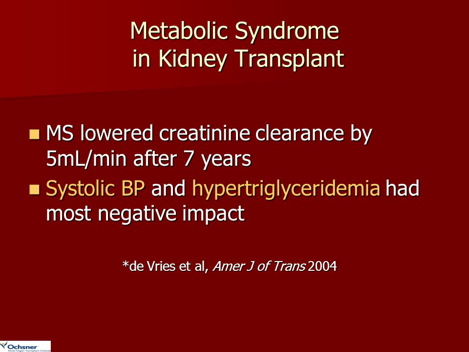 Metabolic Syndrome in Kidney Transplant