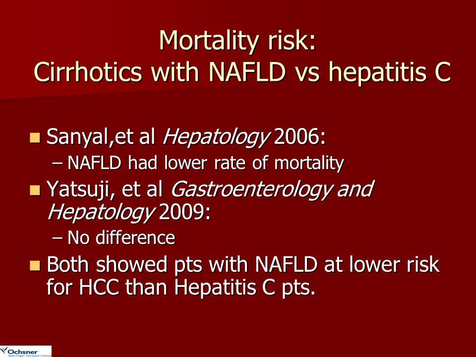 Mortality risk: Cirrhotics with NAFLD vs hepatitis C