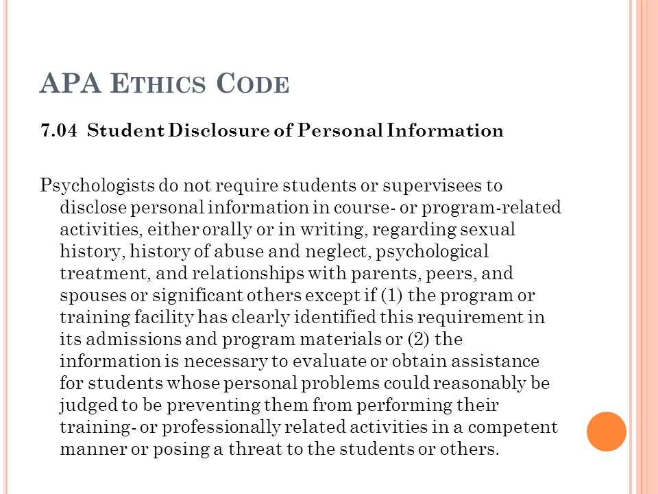 APA Ethics Code 7.04 Student Disclosure of Personal Information