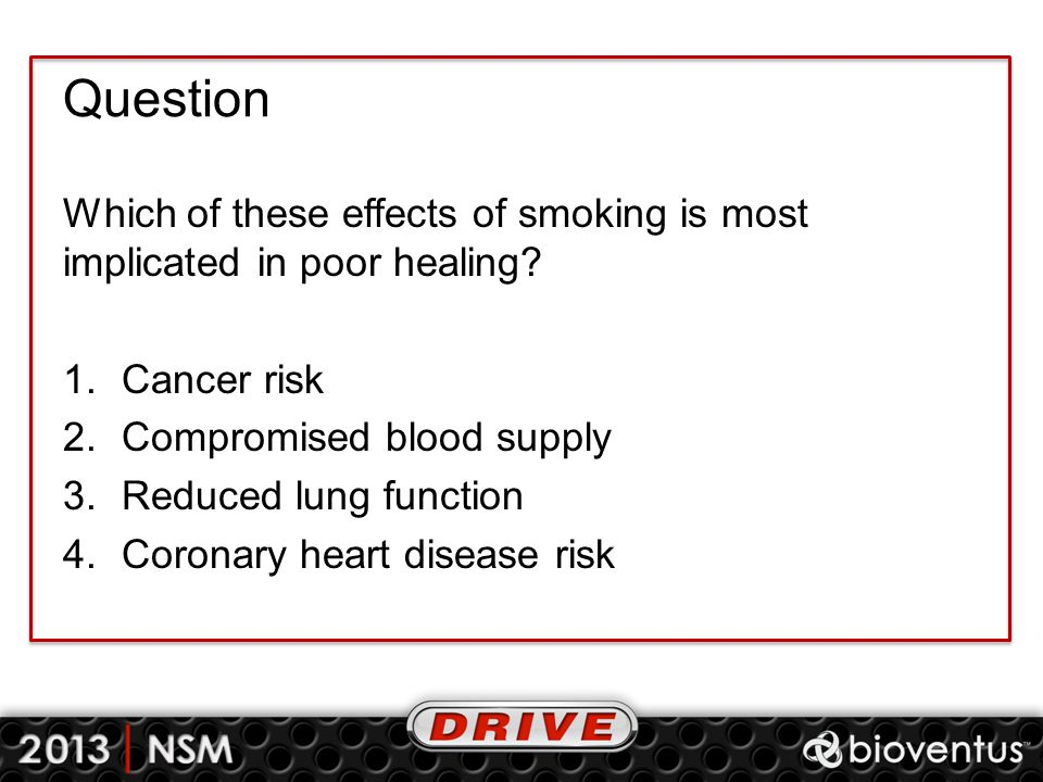 Question Which of these effects of smoking is most implicated in poor healing Cancer risk. Compromised blood supply.