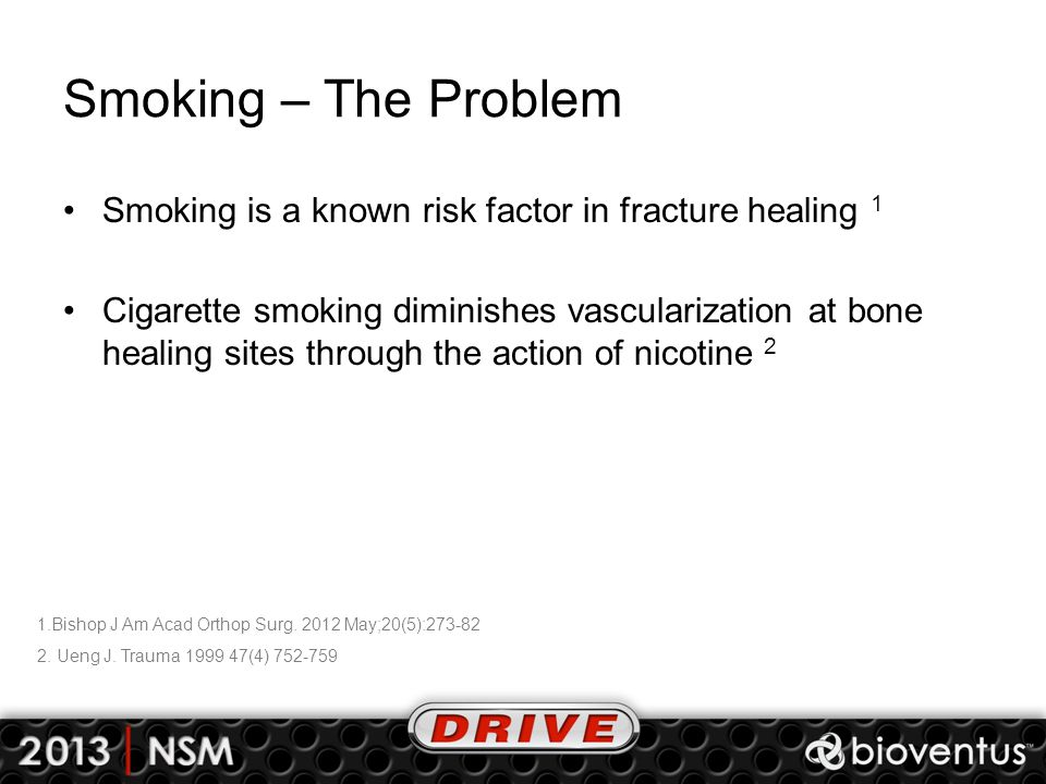 Smoking – The Problem Smoking is a known risk factor in fracture healing 1.