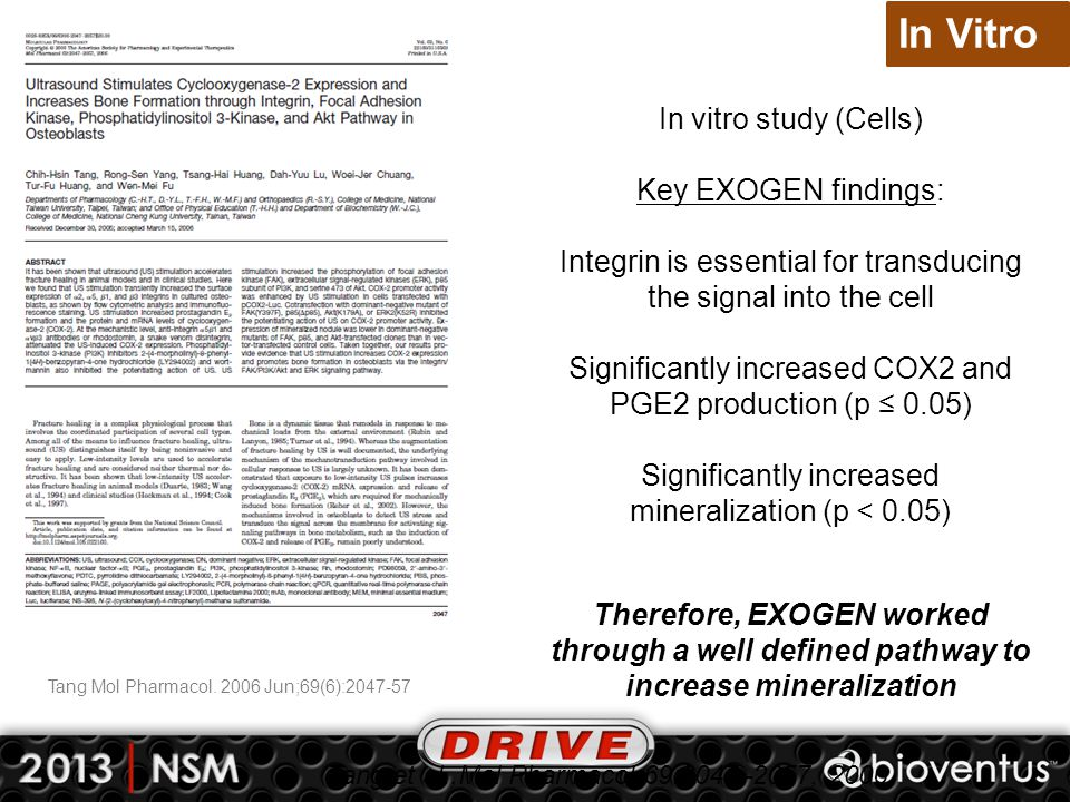 In Vitro In vitro study (Cells) Key EXOGEN findings: