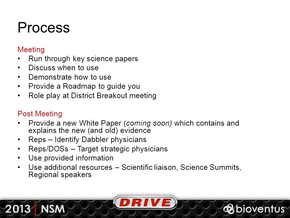 Process Meeting Run through key science papers Discuss when to use