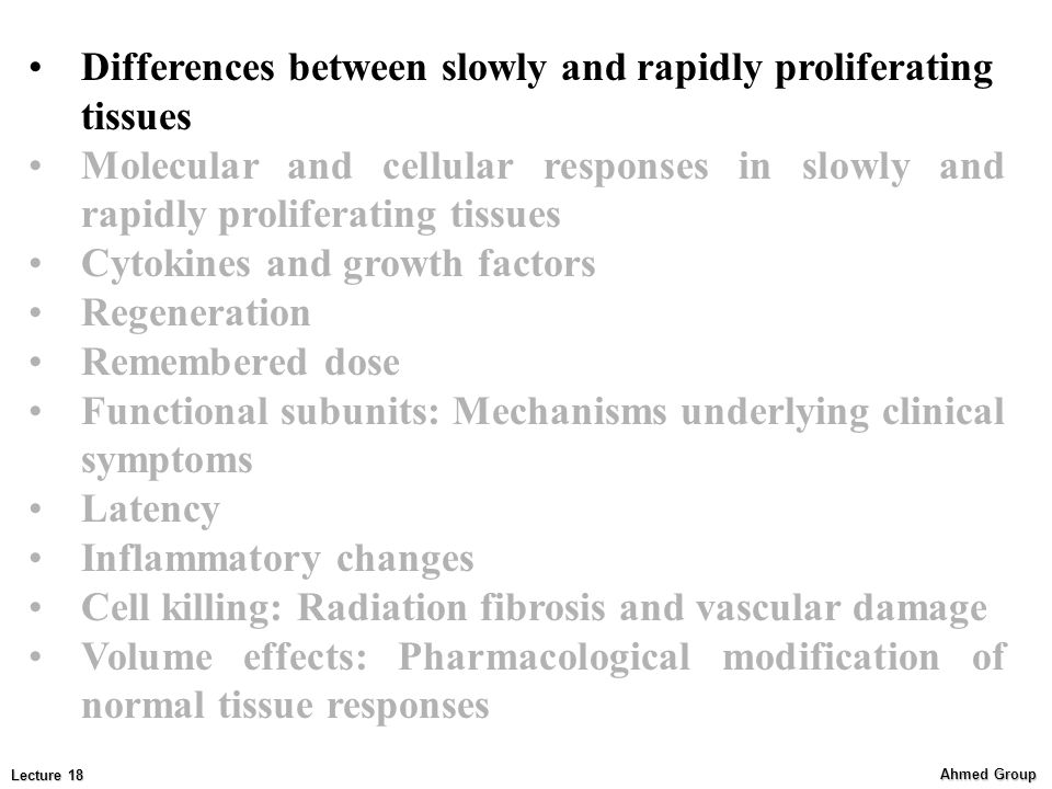 Differences between slowly and rapidly proliferating