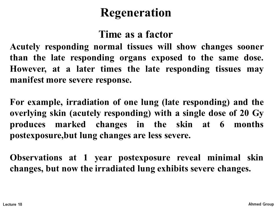 Regeneration Time as a factor