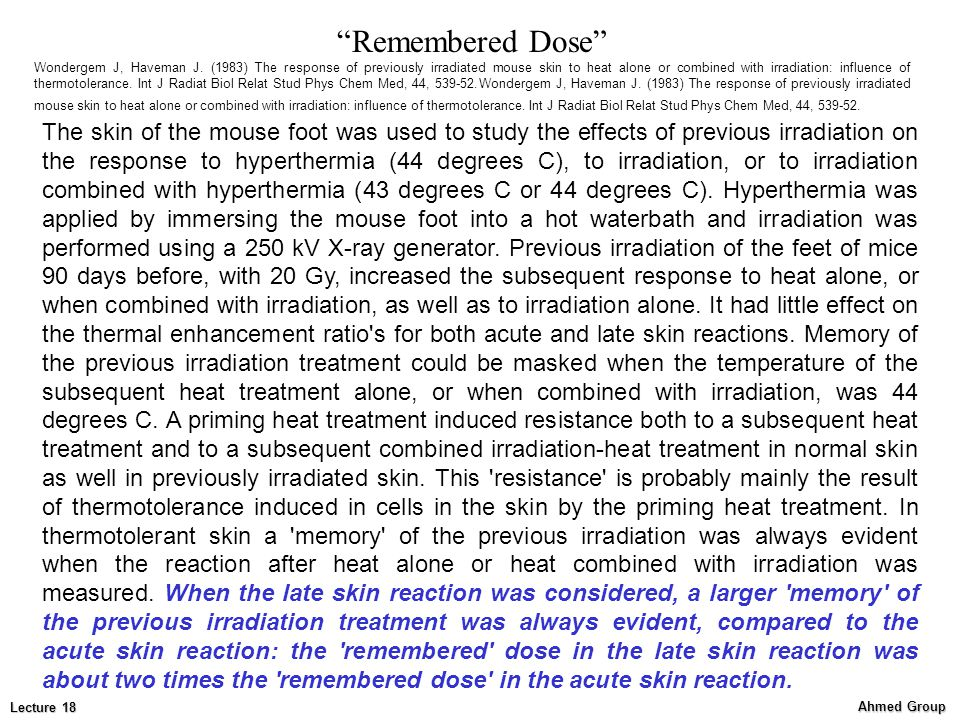 Remembered Dose
