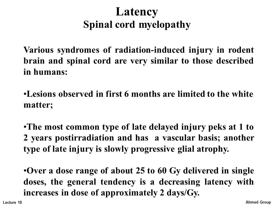 Latency Spinal cord myelopathy