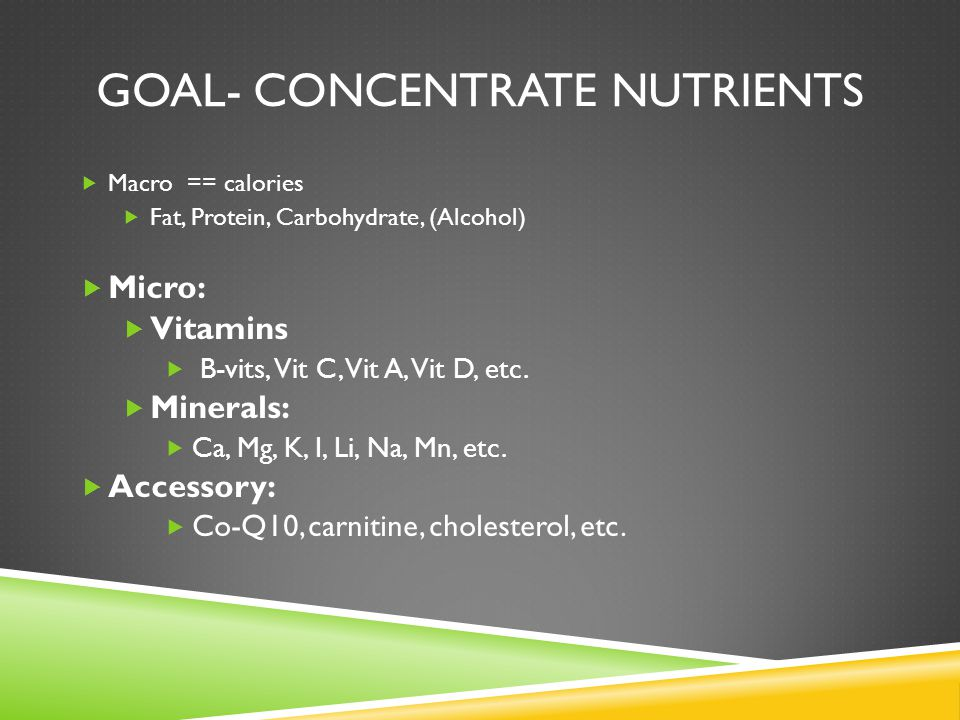 GOAL- CONCENTRATE NUTRIENTS