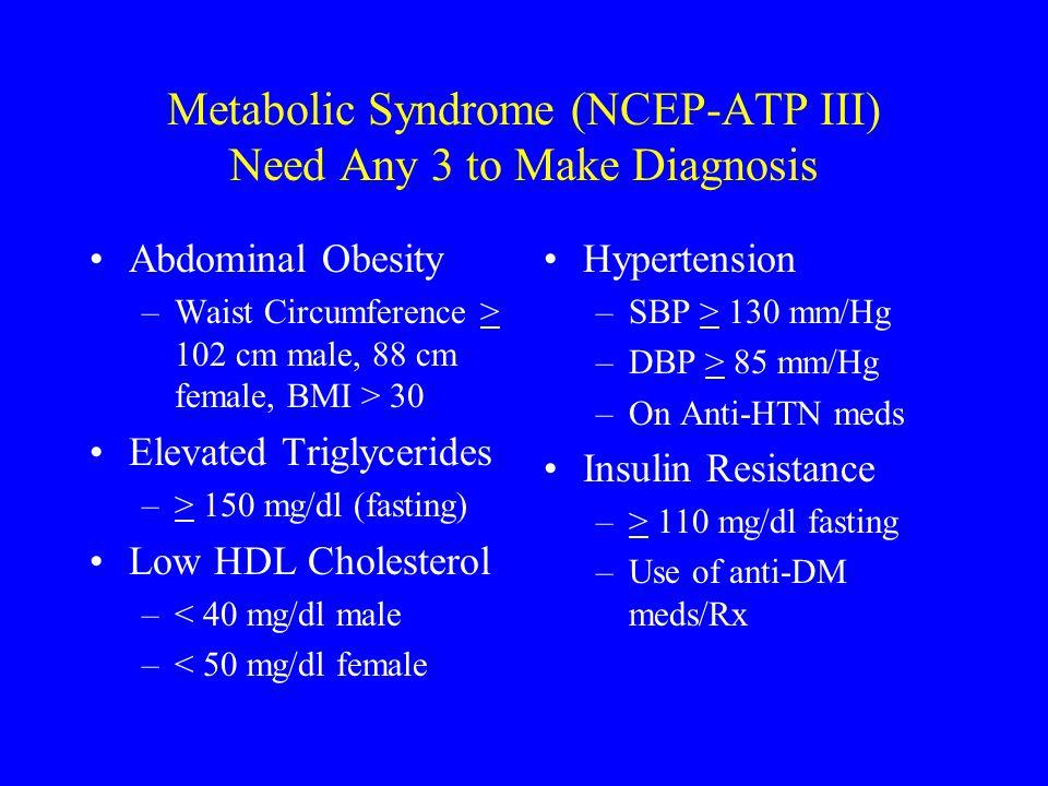Metabolic Syndrome (NCEP-ATP III) Need Any 3 to Make Diagnosis