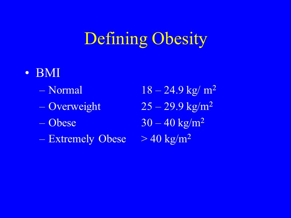 Defining Obesity BMI Normal 18 – 24.9 kg/ m2