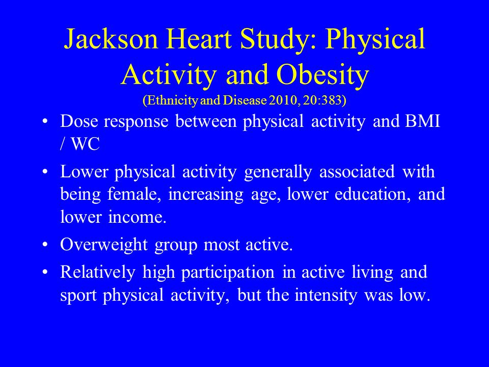 Jackson Heart Study: Physical Activity and Obesity (Ethnicity and Disease 2010, 20:383)