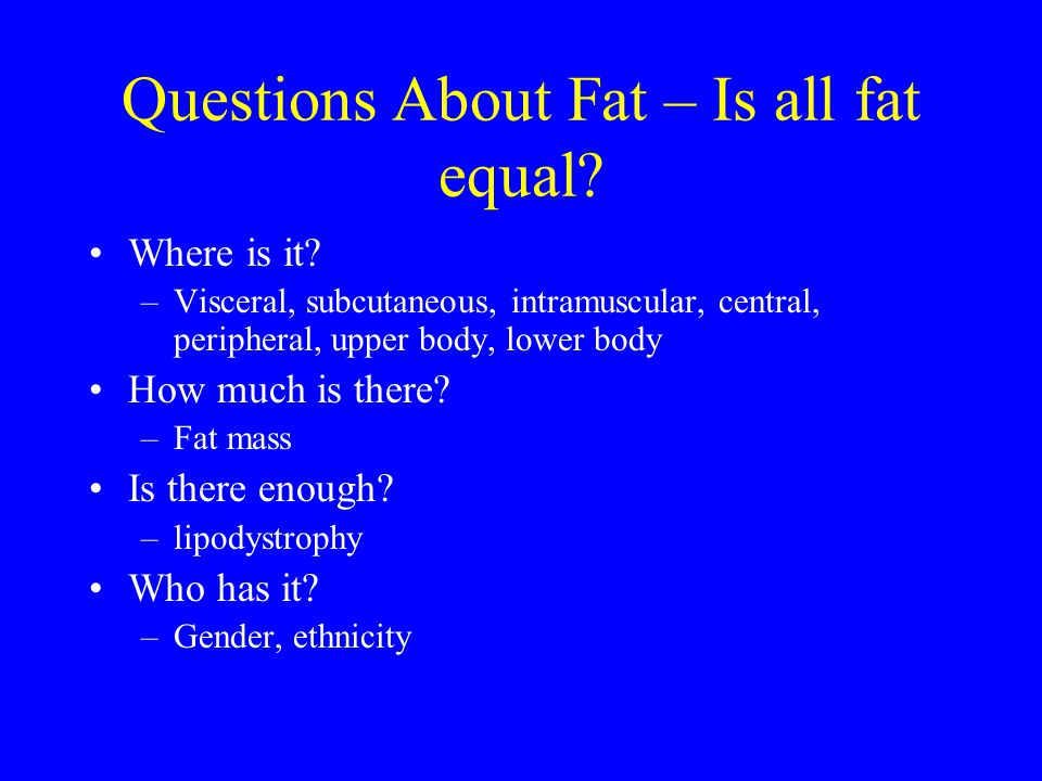 Questions About Fat – Is all fat equal