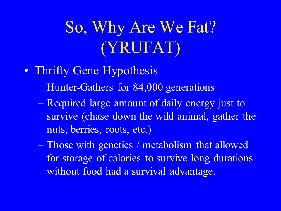 So, Why Are We Fat (YRUFAT)