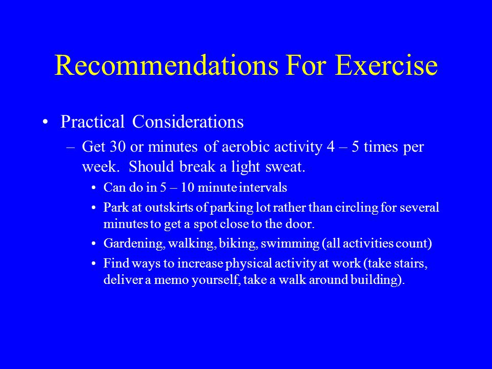 Recommendations For Exercise