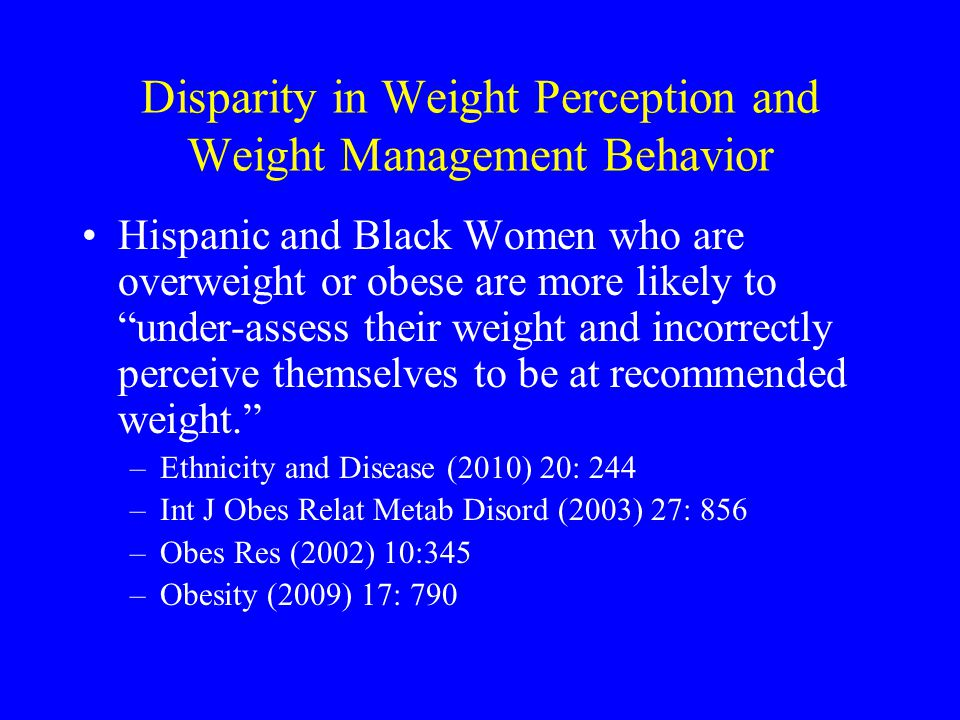 Disparity in Weight Perception and Weight Management Behavior