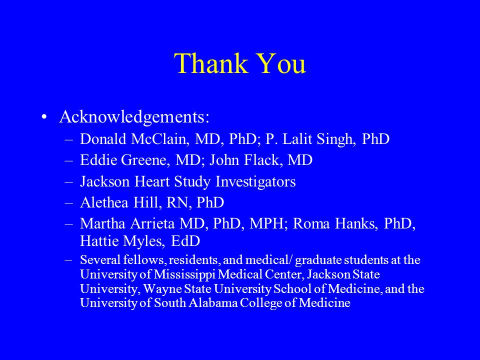 Thank You Acknowledgements:
