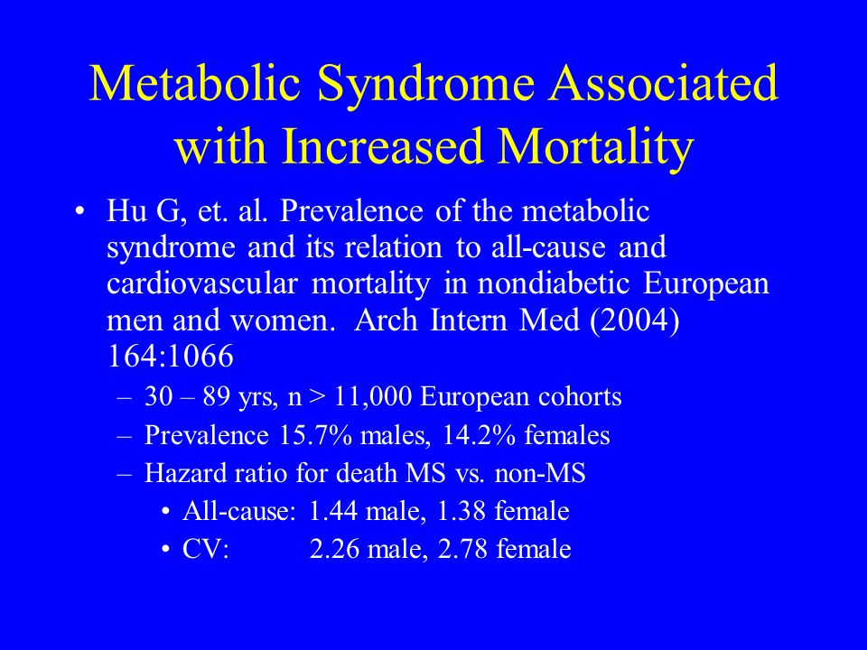 Metabolic Syndrome Associated with Increased Mortality