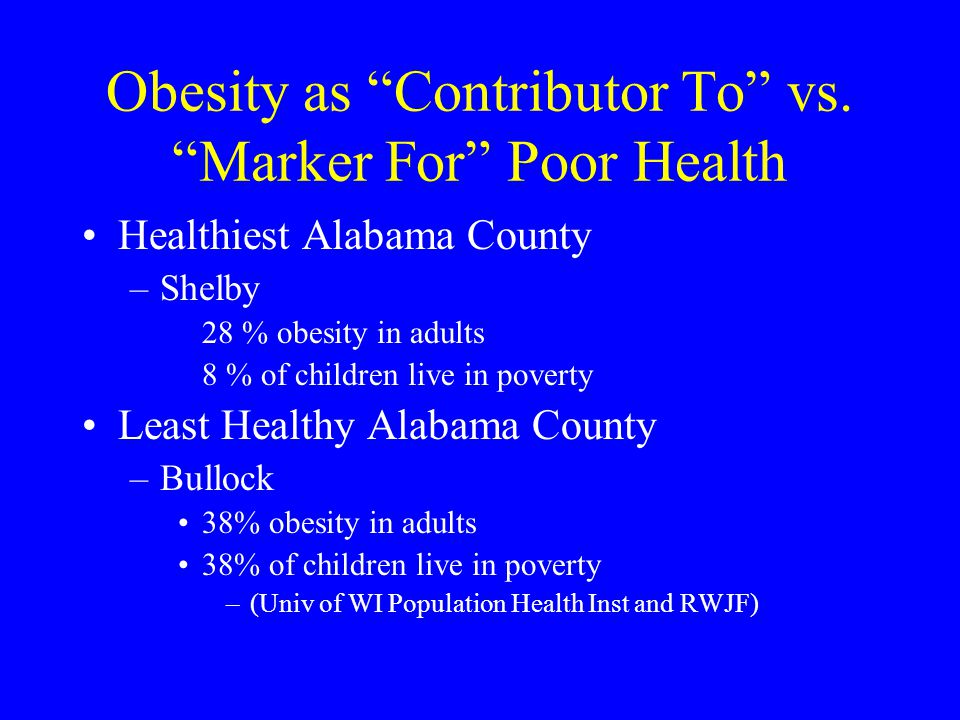 Obesity as Contributor To vs. Marker For Poor Health