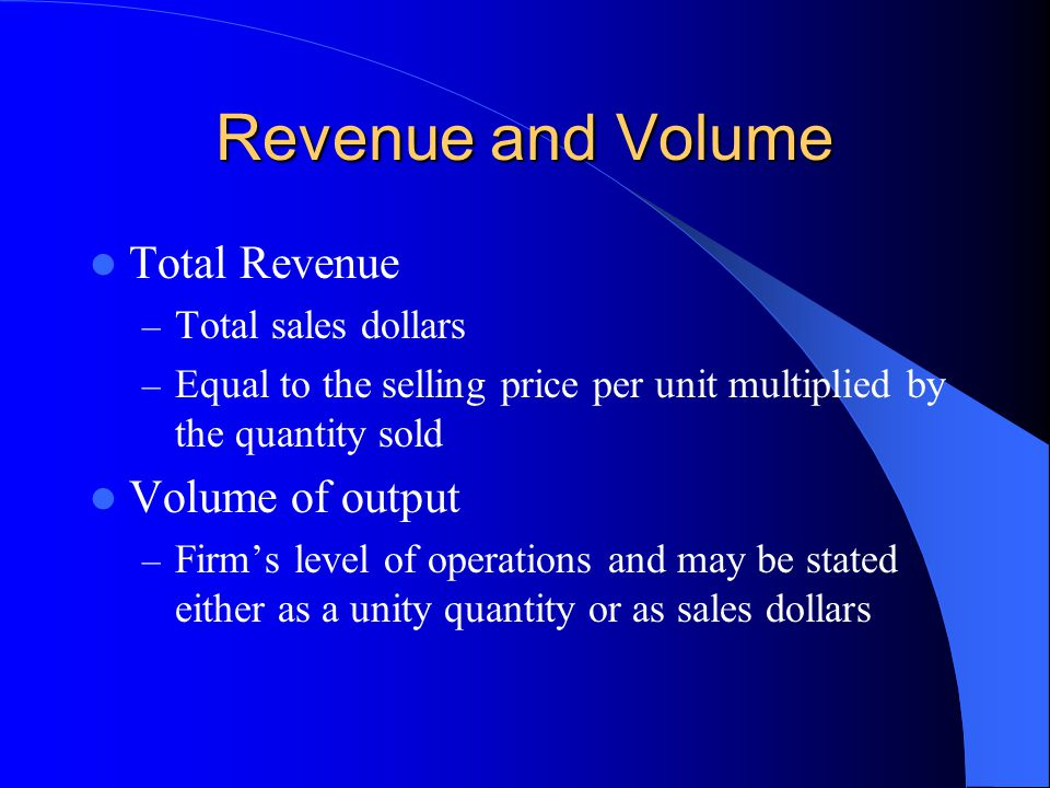 Revenue and Volume Total Revenue Volume of output Total sales dollars
