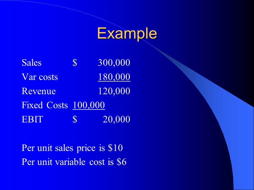 Example Sales $ 300,000 Var costs 180,000 Revenue 120,000