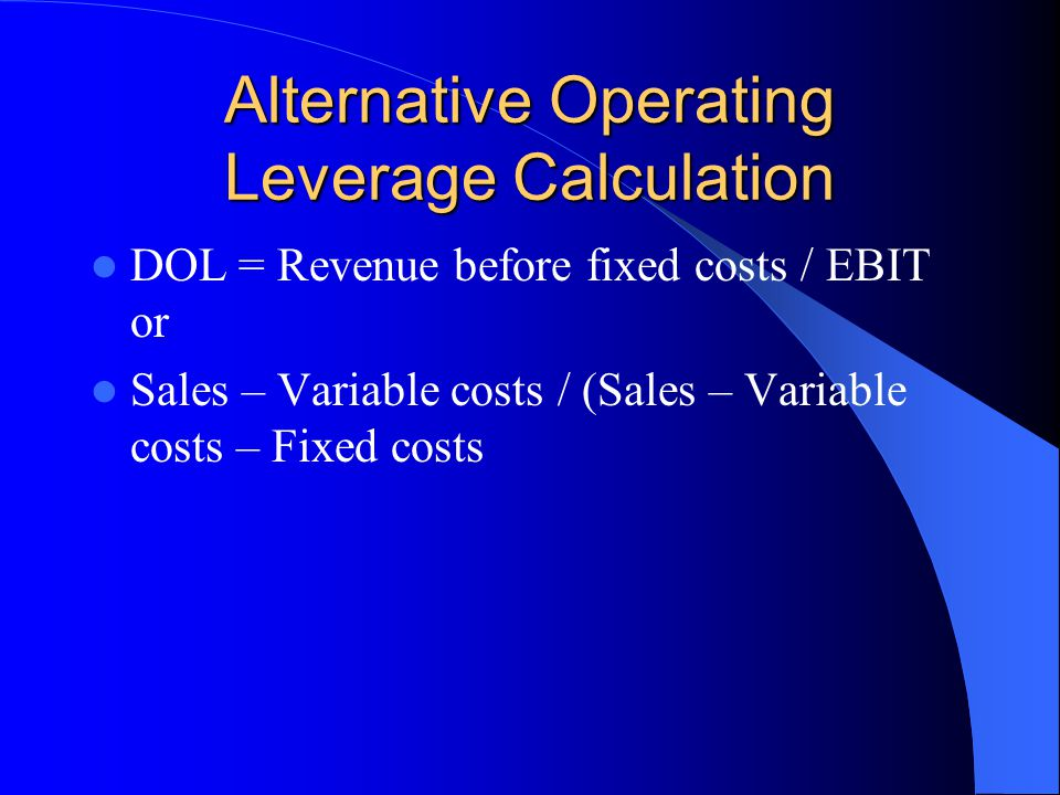 Alternative Operating Leverage Calculation