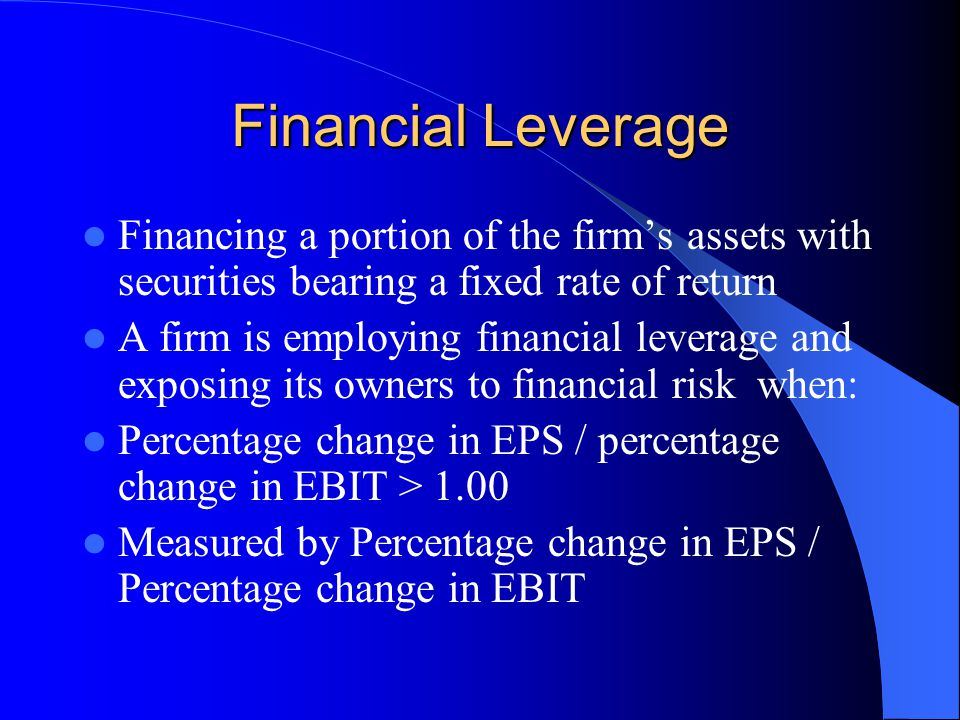 Financial Leverage Financing a portion of the firm's assets with securities bearing a fixed rate of return.