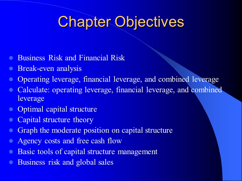 Chapter Objectives Business Risk and Financial Risk