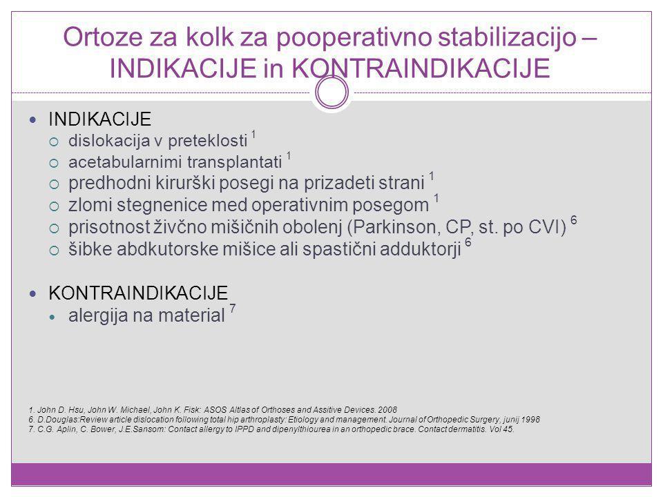 Ortoze za kolk za pooperativno stabilizacijo – INDIKACIJE in KONTRAINDIKACIJE