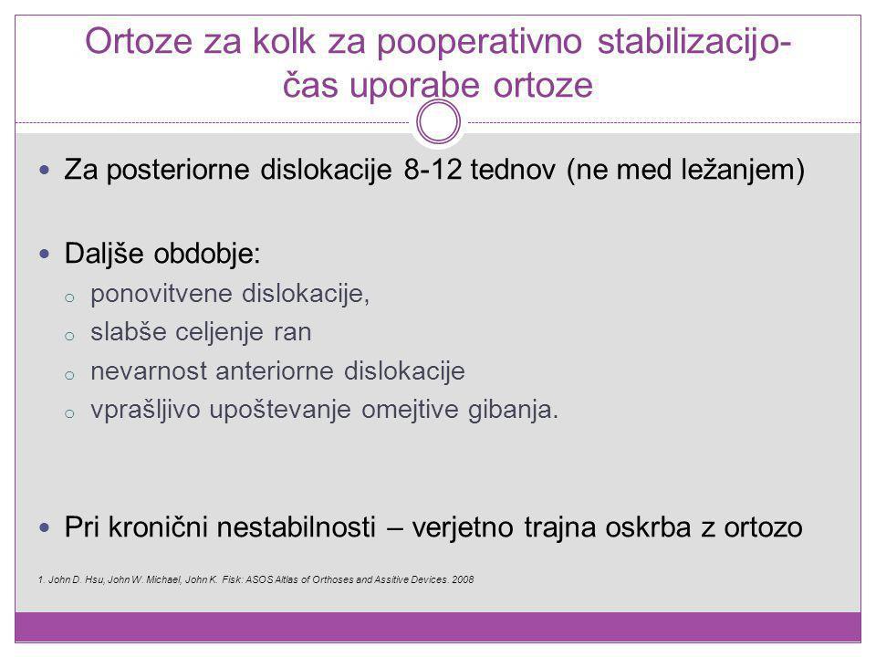 Ortoze za kolk za pooperativno stabilizacijo- čas uporabe ortoze