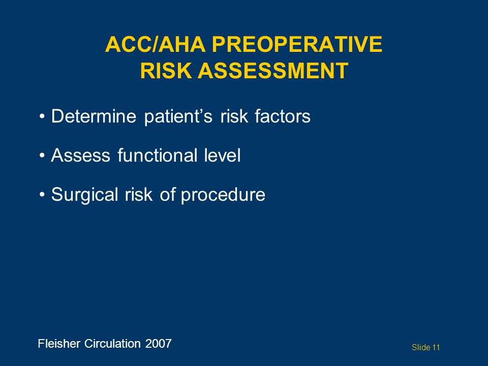 ACC/AHA Preoperative Risk Assessment