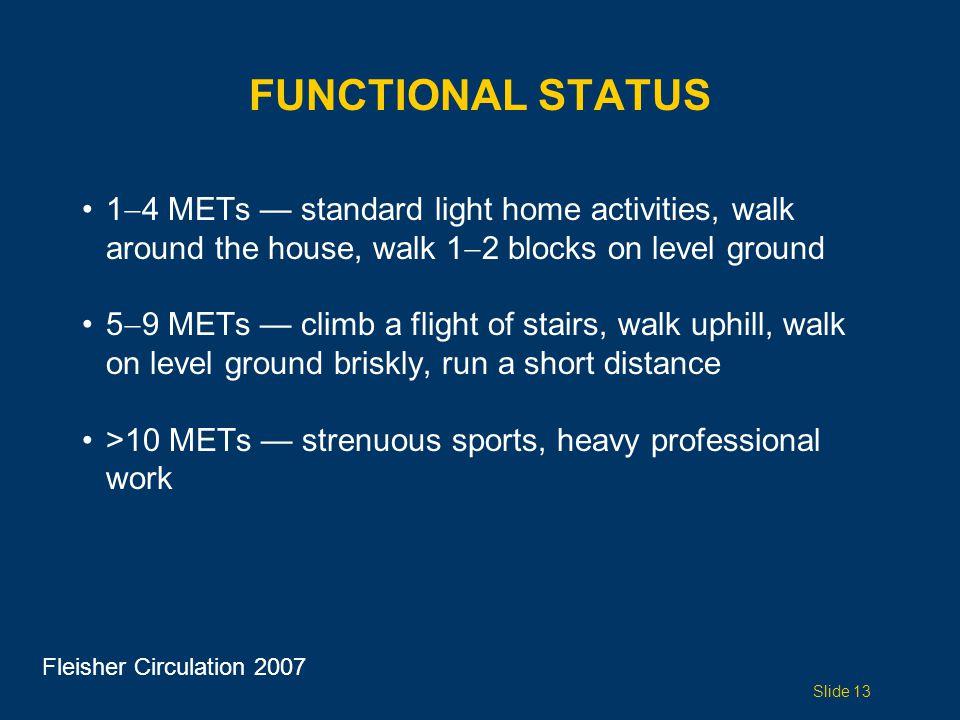 Functional status 14 METs — standard light home activities, walk around the house, walk 12 blocks on level ground.