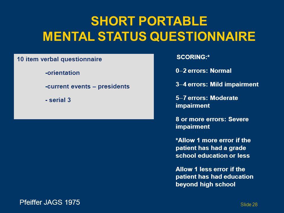 Short Portable Mental Status Questionnaire