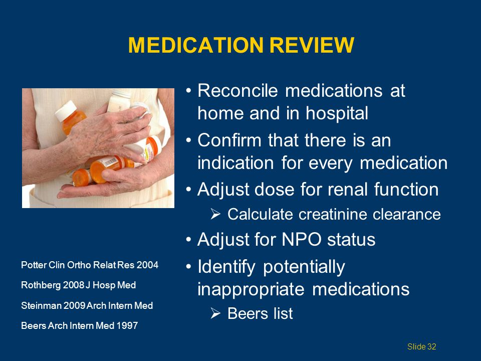 Medication Review Reconcile medications at home and in hospital