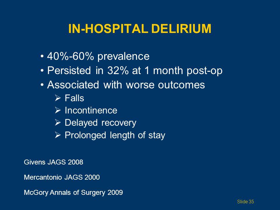 In-HOSPITAL Delirium 40%-60% prevalence