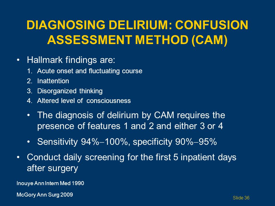 DIAGNOSING DELIRIUM: CONFUSION ASSESSMENT METHOD (CAM)