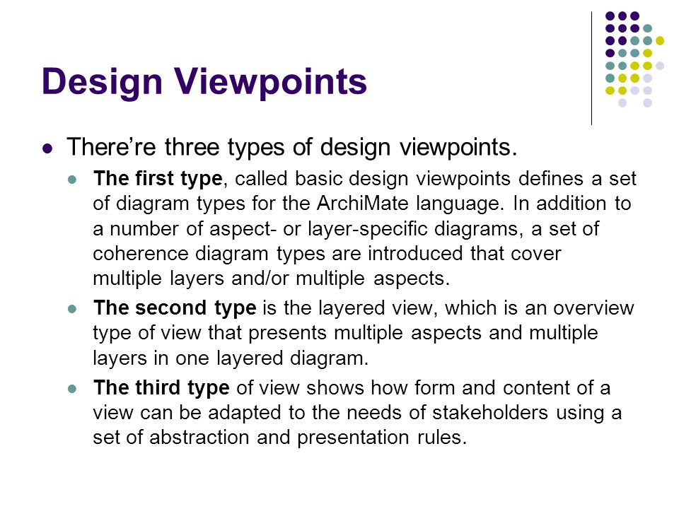 Design Viewpoints There're three types of design viewpoints.