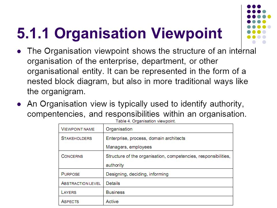5.1.1 Organisation Viewpoint