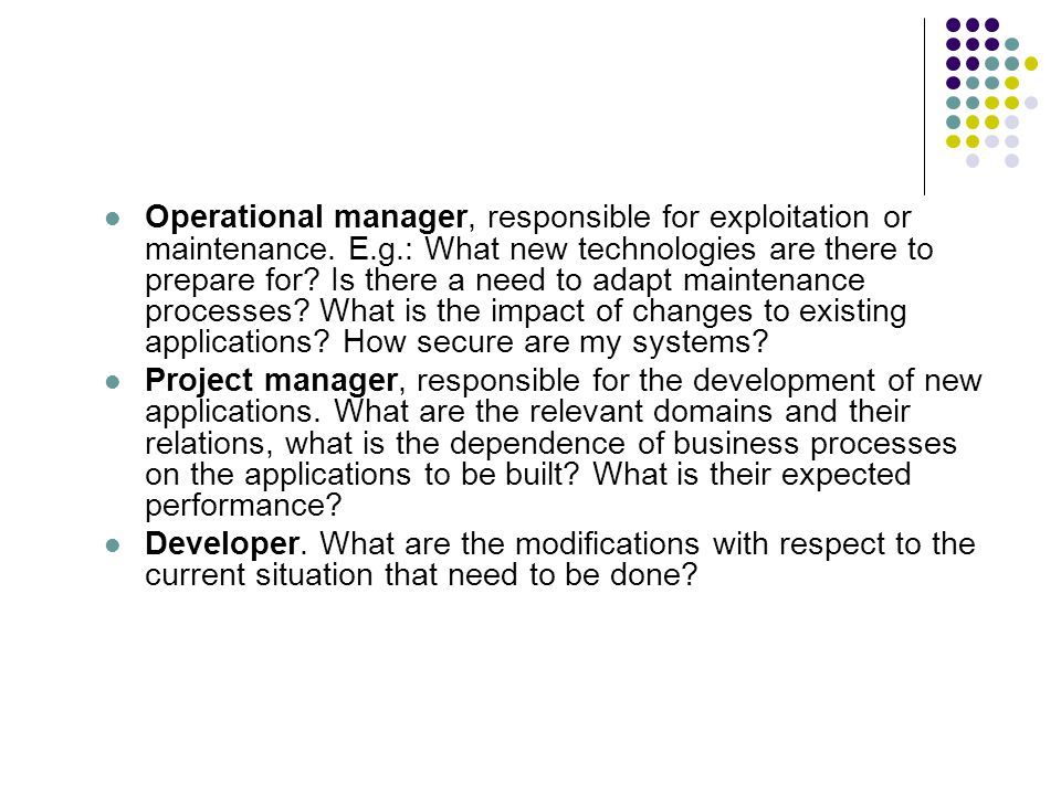 Operational manager, responsible for exploitation or maintenance. E. g
