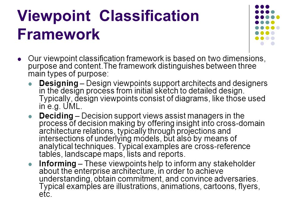 Viewpoint Classification Framework