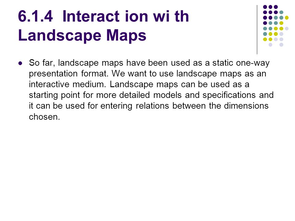 6.1.4 Interact ion wi th Landscape Maps